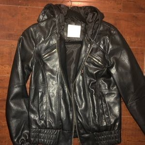 Women's black leather jacket with hoodie
